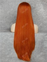 Super Long Dark Orange Straight Synthetic Lace Front Wig