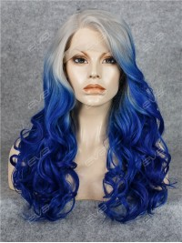 Royal Blue with Grey Root Color Ombre Synthetic Lace Front Wig
