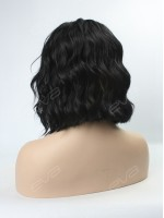 EvaHair Angled Cut Jet Black Wavy Bob Synthetic Lace Front Wig