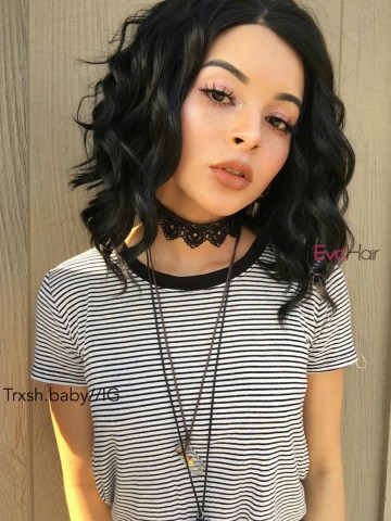 Evahair Angled Cut Jet Black Wavy Bob Synthetic Lace Front