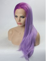 Graduated Lavender Purple Color Long Straight Synthetic Lace Front Wig