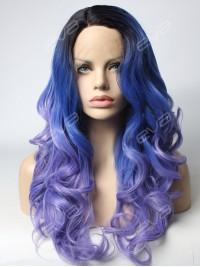 Fading Deep Purple Long Wavy Synthetic Lace Front Wig