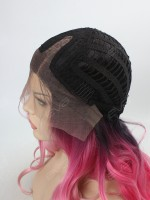 Graduated Pink Color with Dark Hair Root Long Wavy Style Synthetic Lace Front Wig