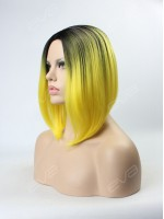 2016 New Trending Color Bright Yellow Ombre Synthetic Capless Wig