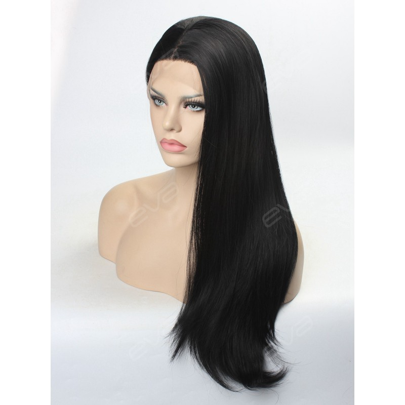 Jet Black Long Straight Synthetic Lace Front Wig ...