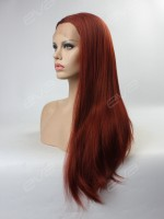 Reddish Brown Ginger Color Long Straight Synthetic Lace Front Wig