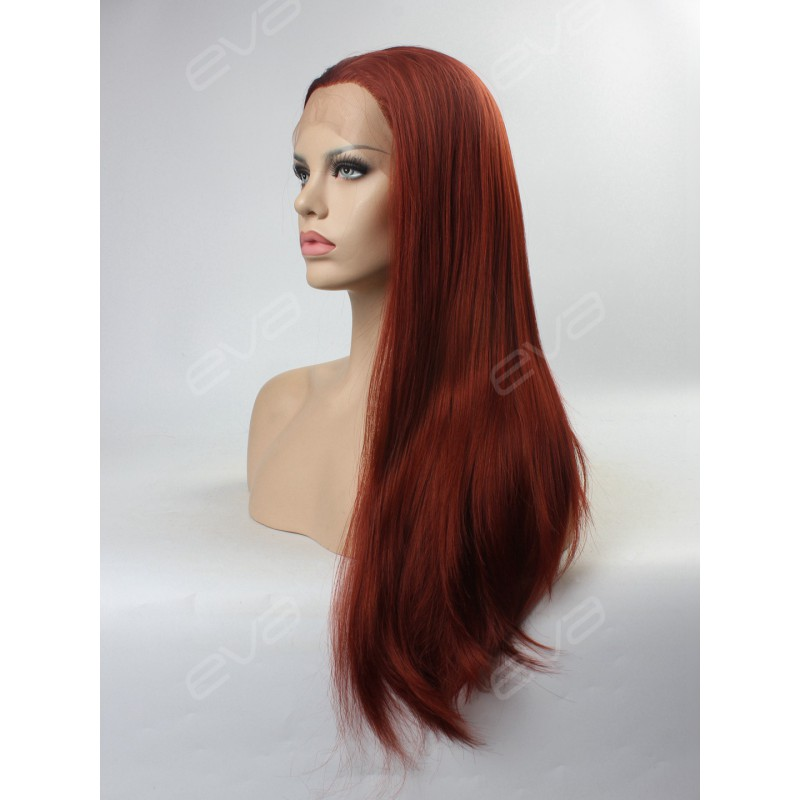 Reddish Brown Ginger Color Long Straight Synthetic Lace ...