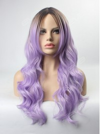 Lilac Ombre Wavy Wefted Cap Synthetic Wig