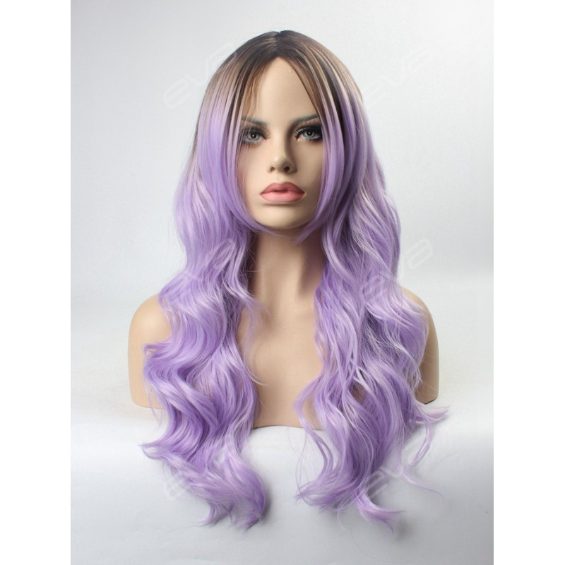 Lilac Ombre Wavy Wefted Cap Synthetic Wig Synthetic Lace