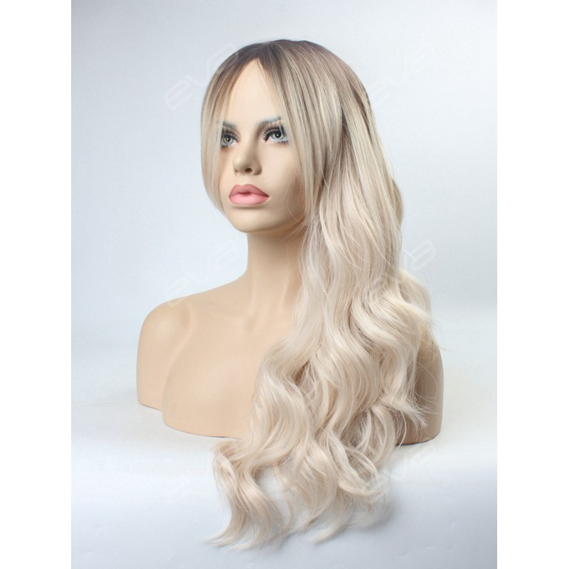 Platinum Blonde Ombre Wavy Wefted Cap Synthetic Wig