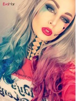 """Harley Quinn"" Inspired Hair Color Half Blue Half Pink Synthetic Lace Front Wig"