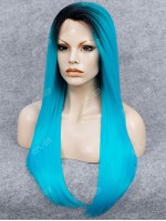 Electrical Blue Long Sleek Straight Synthetic Lace Front Wig with Dark Root