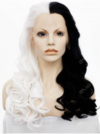 Half Black Half White Gothic Long Wavy Synthetic Lace Front Wig