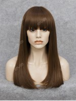 Beautiful Wefted Cap Dark Brown Long Straight Synthetic Wig with Bangs