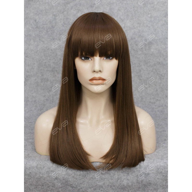 Beautiful Wefted Cap Dark Brown Long Straight Synthetic ...