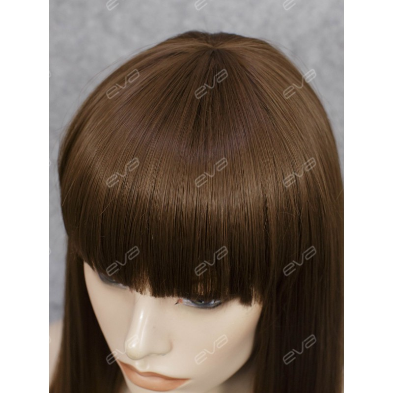 Beautiful Wefted Cap Dark Brown Long Straight Synthetic