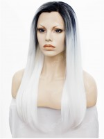 Amazing White Long Sleek Straight Synthetic Lace Wig with Black Hair Root