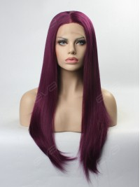 Deep Fuchsia / Deep Pink Long Straight Synthetic Lace Front Wig
