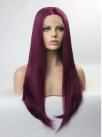 Dark Purple Long Straight Synthetic Lace Front Wig