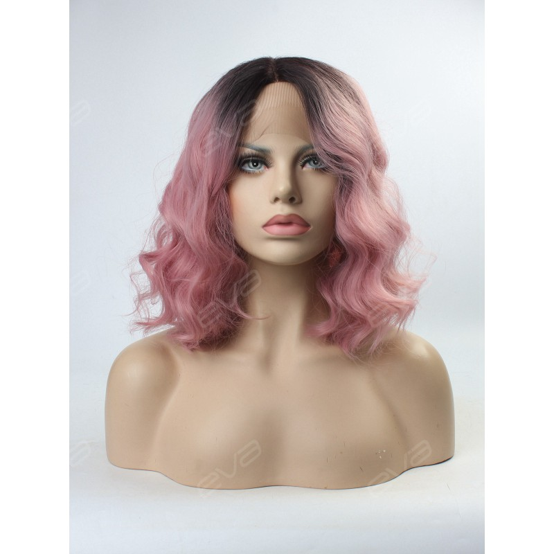 Pink Wavy Lob Synthetic Lace Front Wig Synthetic Lace