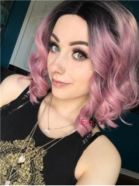 Pink Wavy Lob Synthetic Lace Front Wig