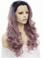 Grayish Pastel Pink Long Wavy Synthetic Lace Front Wig