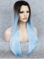 Dark Rooted Pastel Blue Long Straight Synthetic Lace Front Wig