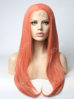 2017 New Color Rose Golden Long Straight Synthetic Lace Front Wig