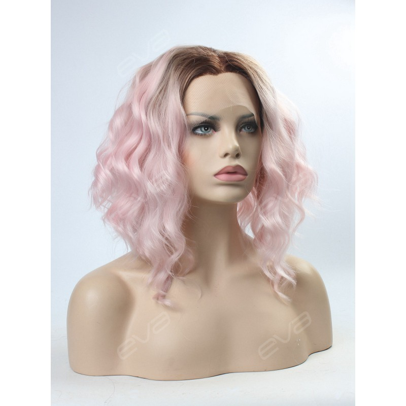 Pink Ombre Wavy Lob Synthetic Lace Front Wig Synthetic