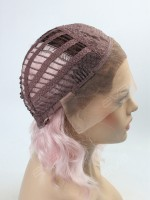 Pink Ombre Wavy Lob Synthetic Lace Front Wig