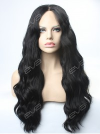 Classical Black Water Wavy Synthetic Lace Front Wig