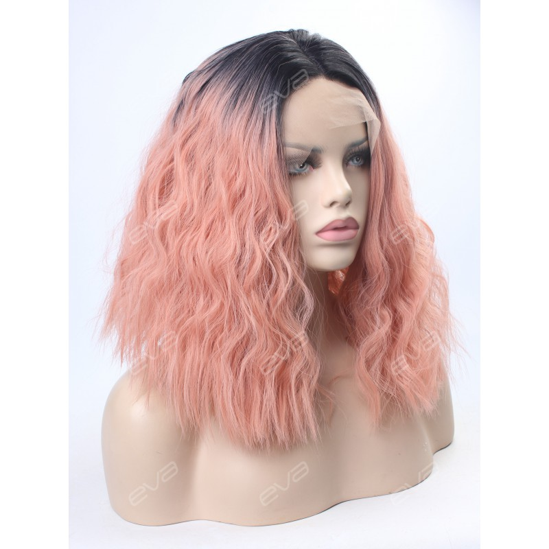 Evahair Peach Synthetic Lace Front Wig Synthetic Lace