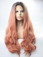 EvaHair Peach Long Wavy Synthetic Lace Front Wig