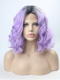 Lavender T Color Wavy lob Synthetic Lace Front Wig