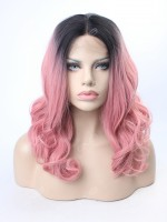 EvaHair Rouge Pink Loose wavy medium length lob Synthetic Wig