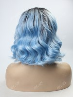 Sky Blue Ombre Lob Synthetic Lace Front Wig
