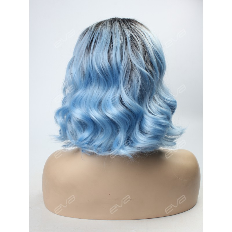 Sky Blue Ombre Lob Synthetic Lace Front Wig Synthetic