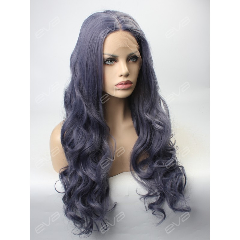 2017 New Dark Gray Purple Sexy Wavy Synthetic Lace Front