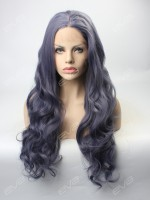 2017 New Dark Grey Sexy Wavy Synthetic Lace Front Wig
