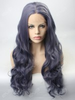 2017 New Dark Gray Purple Sexy Wavy Synthetic Lace Front Wig
