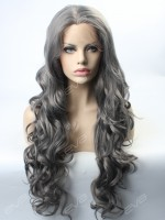 Grey Wavy Synthetic Lace Front Wig