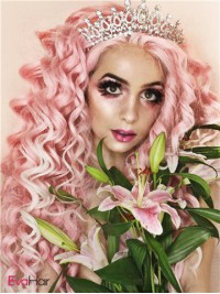 Dip-dyed Gothic Pink Color Curly Synthetic Lace Front Wig