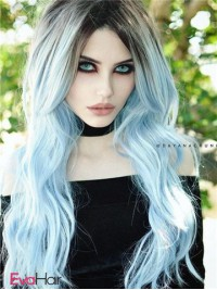 Gothic Glacier Blue Ombre Wavy Wefted Cap Synthetic Wig
