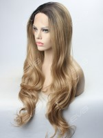 Honey Brown Ombre with Sexy Wavy Synthetic Lace Front Wig