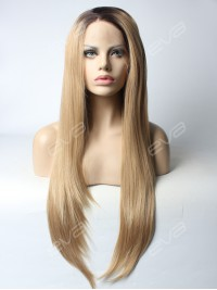 Black T Brown Long Straight Synthetic Lace Front Wig