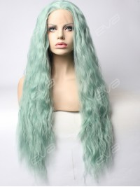 EvaHair Mint Green Slight Wavy Synthetic Lace Front Wig
