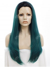 Sea Blue with Black Root Long Straight Synthetic Lace Front Wig