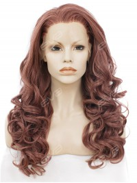 Caramel Color Long Wavy Synthetic Lace Front Wig