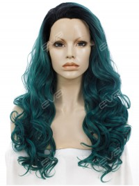 Sea Blue with Black Root Long Wavy Synthetic Lace Front Wig