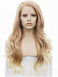 Long Wavy Blonde Synthetic Lace Front Wig